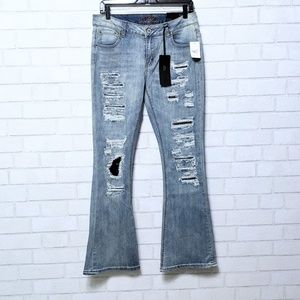 Rue 21 Mid Rise Flare Light Wash Jeans 10